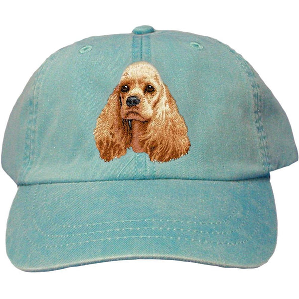 Embroidered Baseball Caps Turquoise  Cocker Spaniel D20
