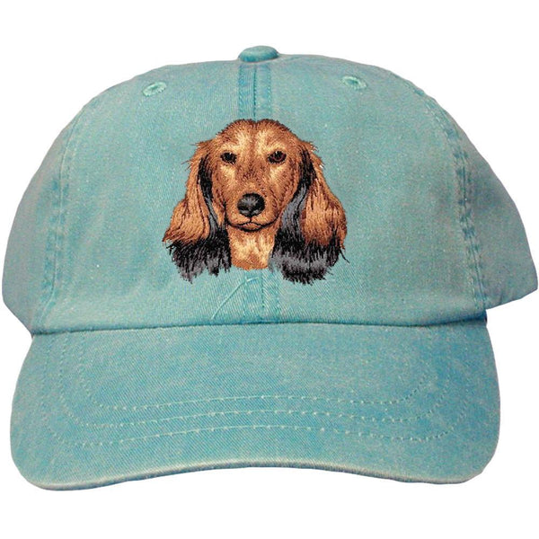 Embroidered Baseball Caps Turquoise  Dachshund D109