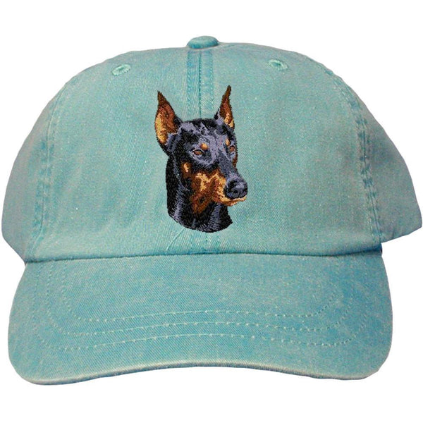 Embroidered Baseball Caps Turquoise  Doberman Pinscher DM346