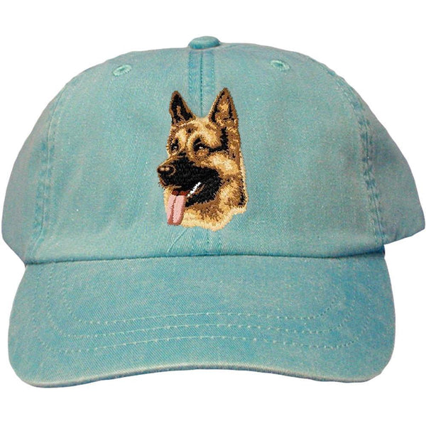 Embroidered Baseball Caps Turquoise  German Shepherd Dog D1