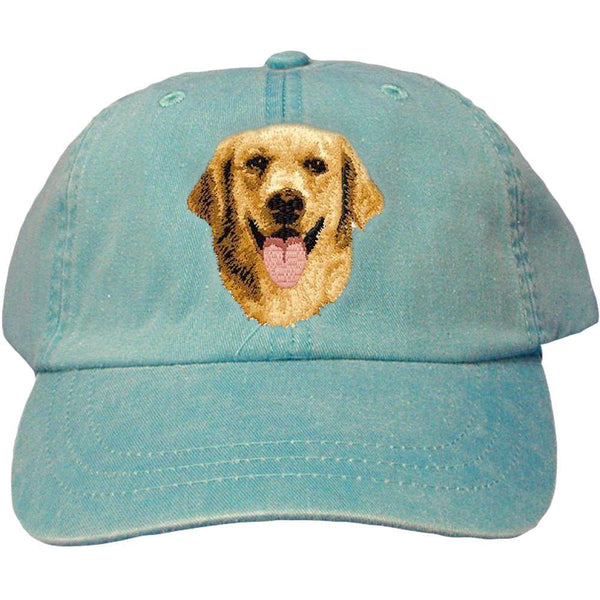 Embroidered Baseball Caps Turquoise  Golden Retriever D5