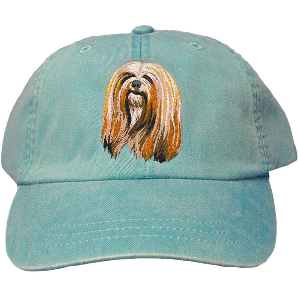 Embroidered Baseball Caps Turquoise  Lhasa Apso DM161
