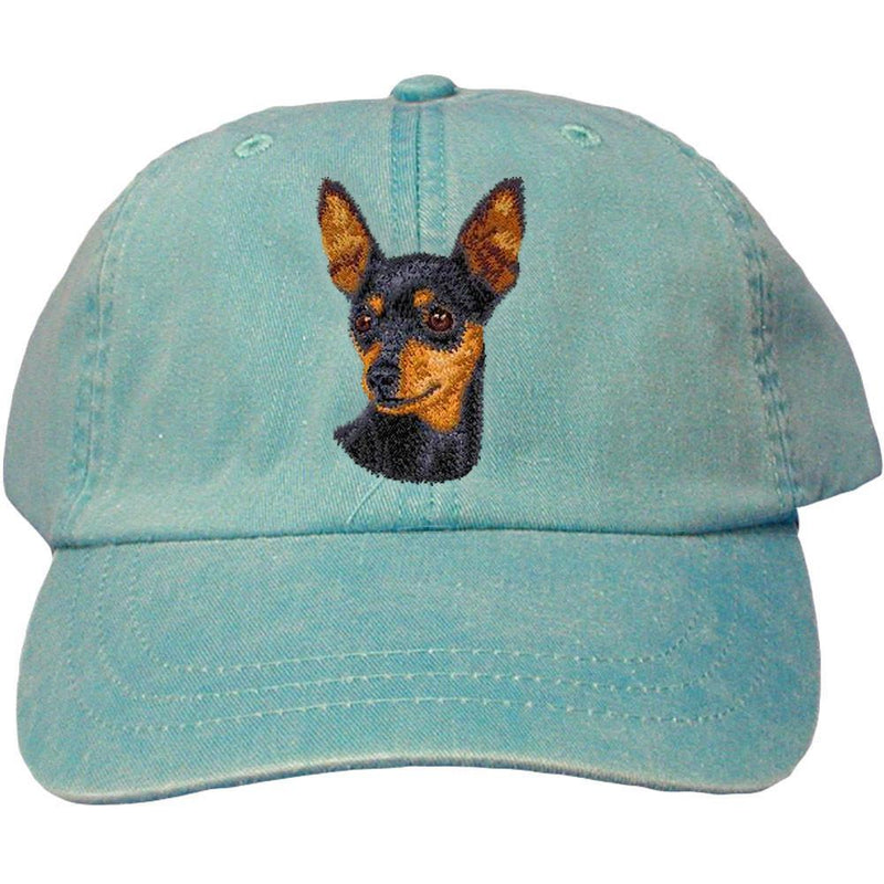 Embroidered Baseball Caps Turquoise  Miniature Pinscher D22