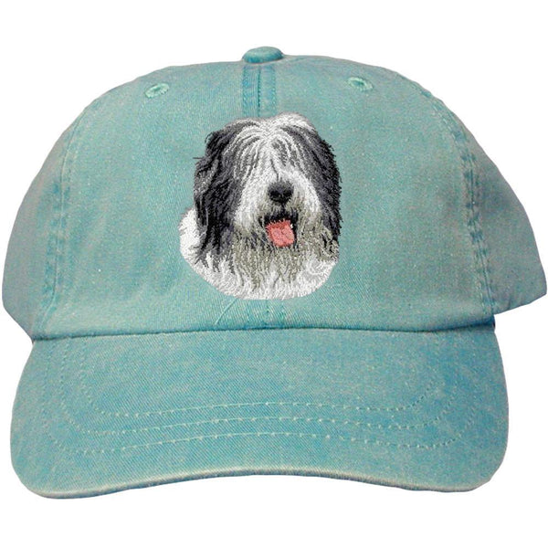 Embroidered Baseball Caps Turquoise  Old English Sheepdog D40
