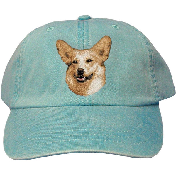 Embroidered Baseball Caps Turquoise  Pembroke Welsh Corgi D34
