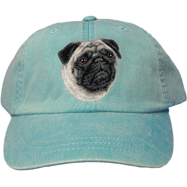 Embroidered Baseball Caps Turquoise  Pug D63