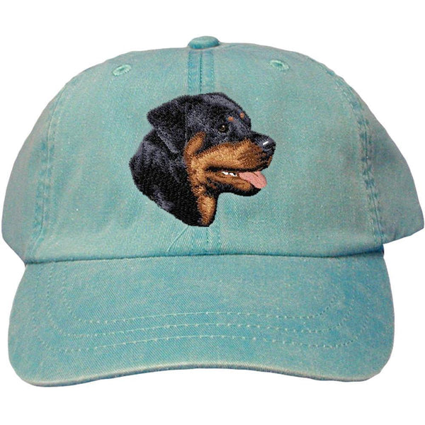 Embroidered Baseball Caps Turquoise  Rottweiler D7
