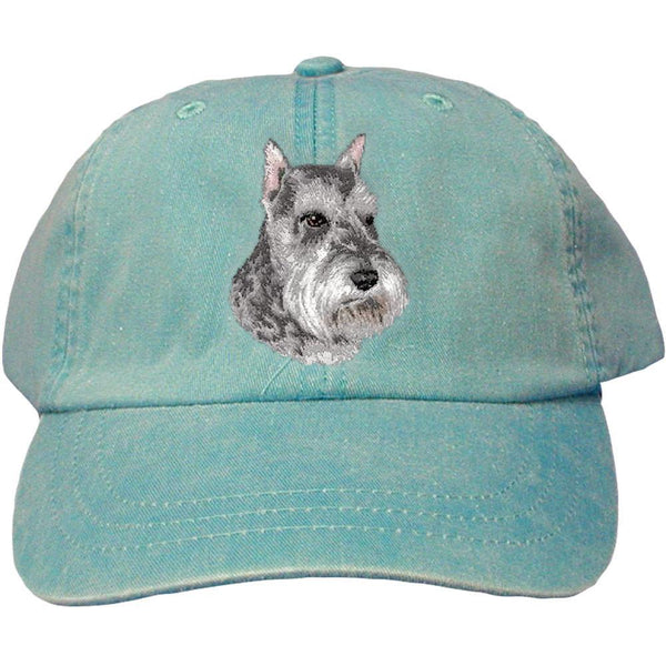 Embroidered Baseball Caps Turquoise  Schnauzer D133