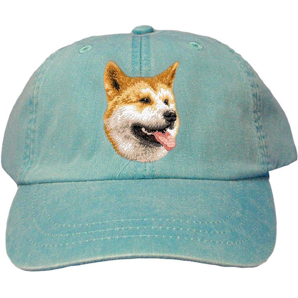 Embroidered Baseball Caps Turquoise  Shiba Inu D91