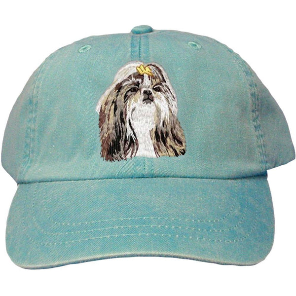 Embroidered Baseball Caps Turquoise  Shih Tzu DN390