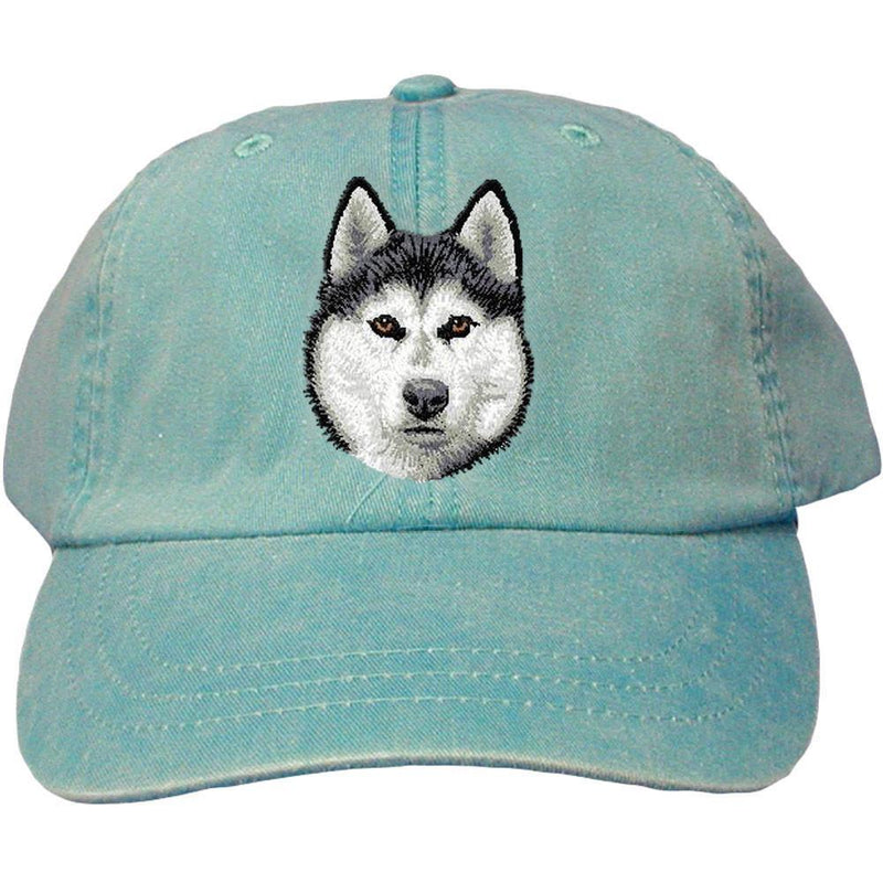 Embroidered Baseball Caps Turquoise  Siberian Husky D121