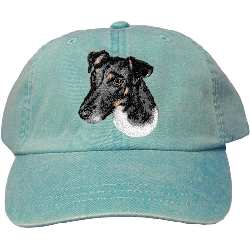 Embroidered Baseball Caps Turquoise  Smooth Fox Terrier D134