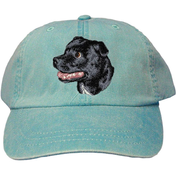 Embroidered Baseball Caps Turquoise  Staffordshire Bull Terrier D113