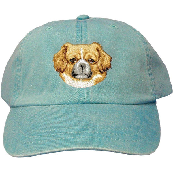 Embroidered Baseball Caps Turquoise  Tibetan Spaniel D87