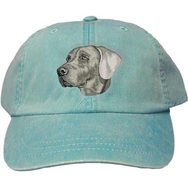 Embroidered Baseball Caps Turquoise  Weimaraner DM339