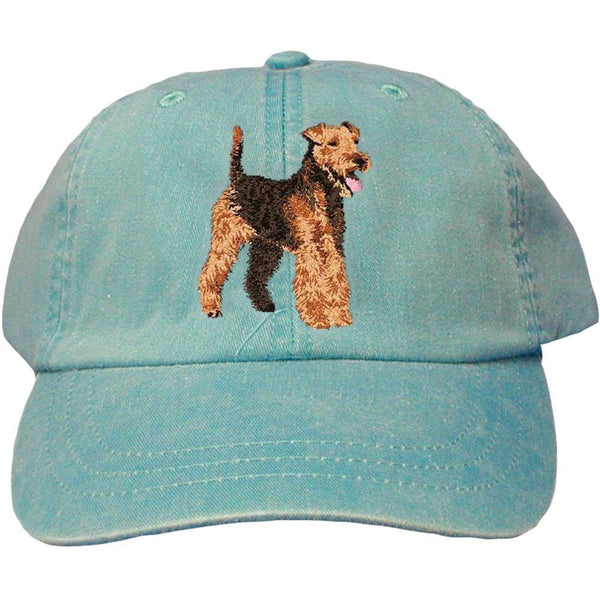 Embroidered Baseball Caps Turquoise  Welsh Terrier DJ241