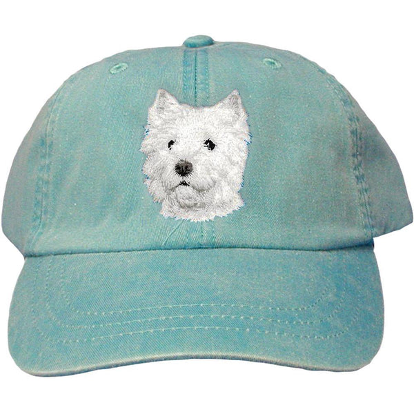 Embroidered Baseball Caps Turquoise  West Highland White Terrier D126