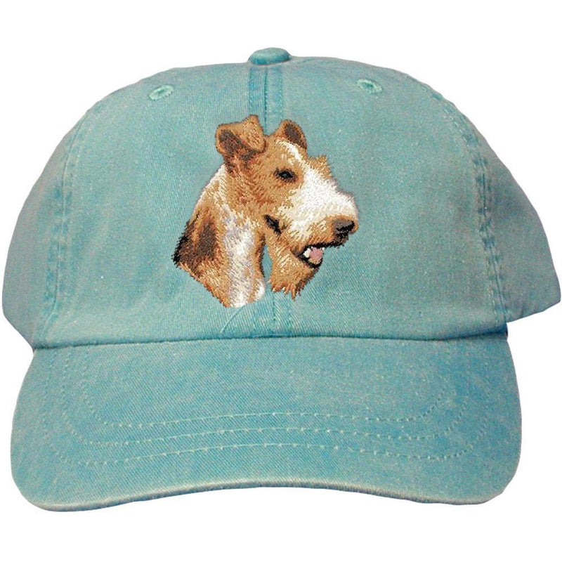 Embroidered Baseball Caps Turquoise  Wire Fox Terrier D107
