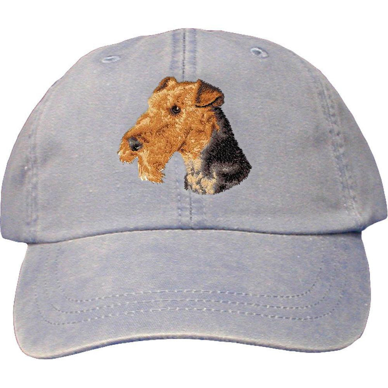 Embroidered Baseball Caps Light Blue  Airedale Terrier D67