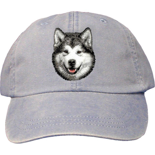 Embroidered Baseball Caps Light Blue  Alaskan Malamute D33