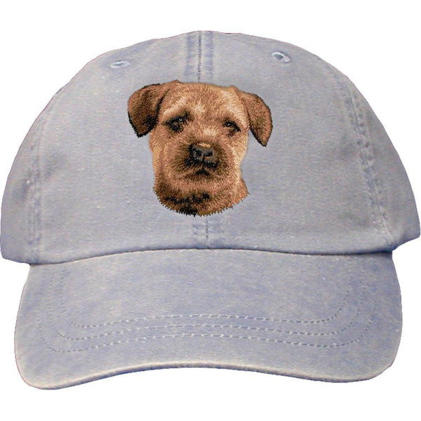 Embroidered Baseball Caps Light Blue  Border Terrier D51