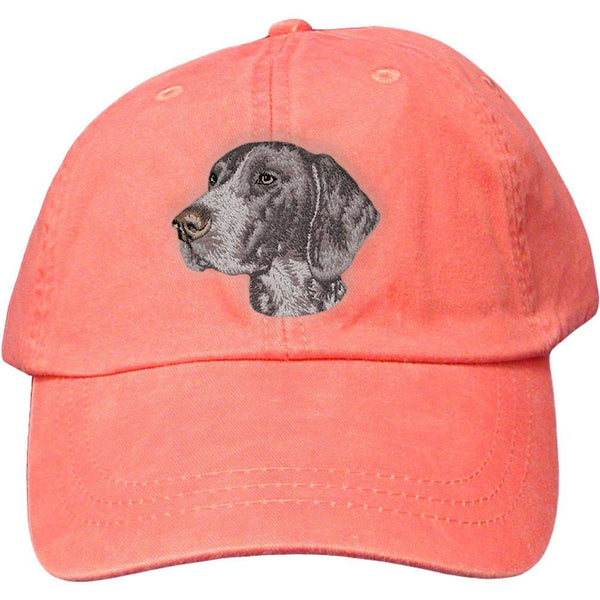 Embroidered Baseball Caps Peach  German Shorthaired Pointer D131