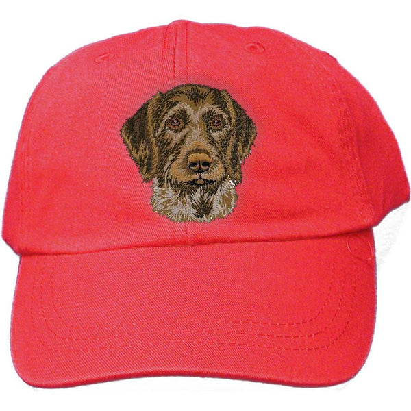 Embroidered Baseball Caps Red  German Wirehaired Pointer DV467