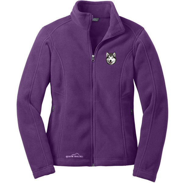 Alaskan Malamute Embroidered Ladies Fleece Jackets