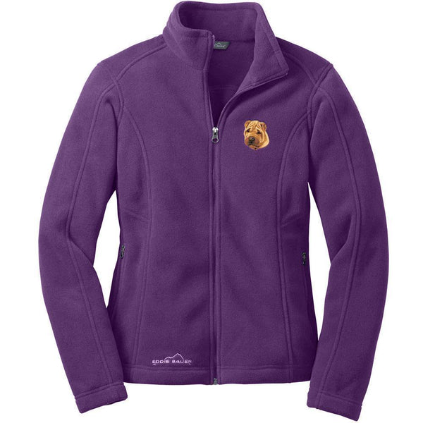 Chinese Shar Pei Embroidered Ladies Fleece Jackets