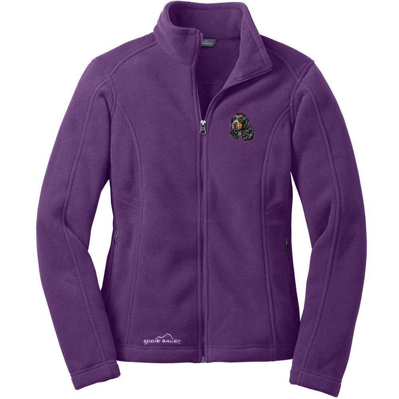 English Cocker Spaniel Embroidered Ladies Fleece Jacket