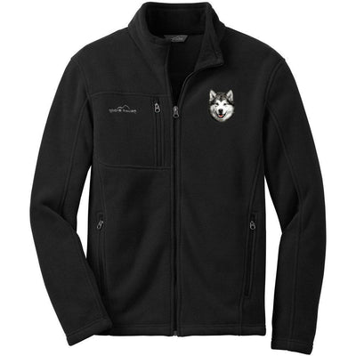 Alaskan Malamute Embroidered Mens Fleece Jackets