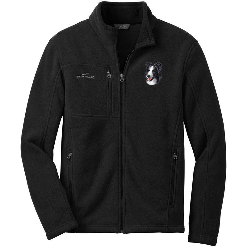 Embroidered Mens Fleece Jackets Black 2X Large Border Collie D16