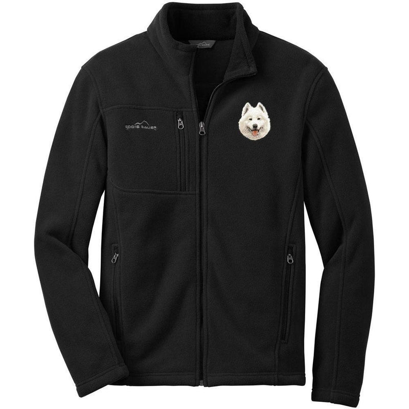 Embroidered Mens Fleece Jackets Black 2X Large Samoyed D62