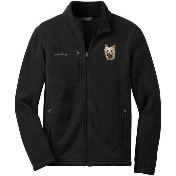 Embroidered Mens Fleece Jackets Black 2X Large Silky Terrier DM405