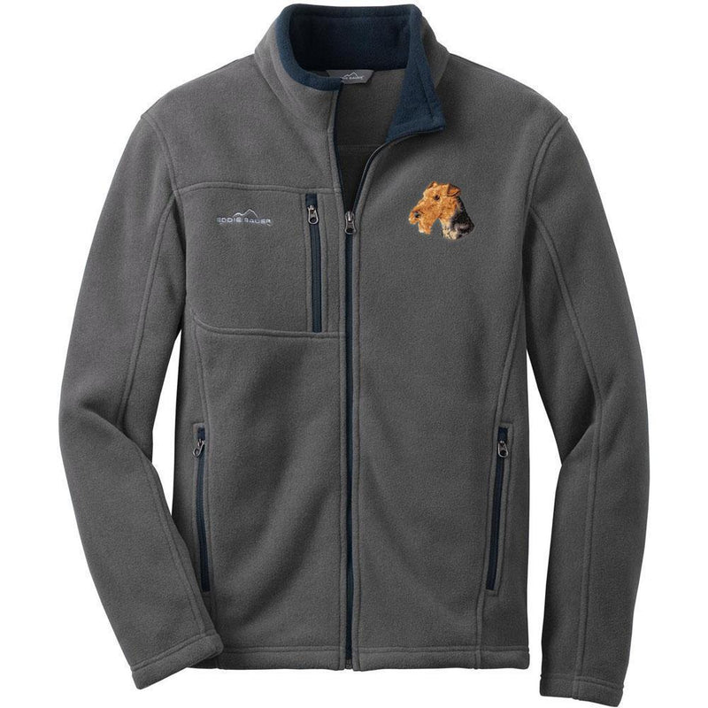 Embroidered Mens Fleece Jackets Gray 2X Large Airedale Terrier D67