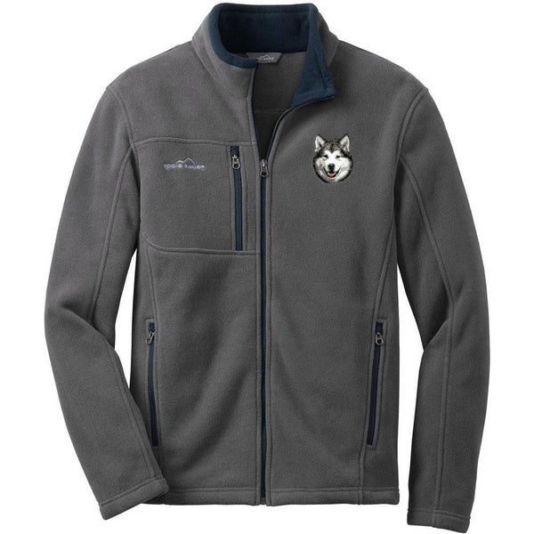 Embroidered Mens Fleece Jackets Gray 2X Large Alaskan Malamute D33