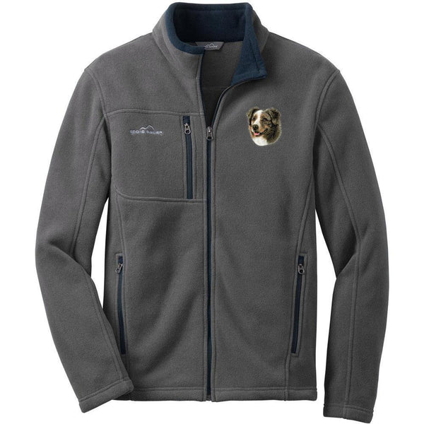 Embroidered Mens Fleece Jackets Deep Sea Blue Small Australian Shepherd DV164