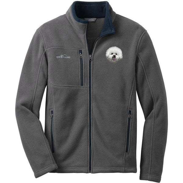 Embroidered Mens Fleece Jackets Gray 2X Large Bichon Frise DM406