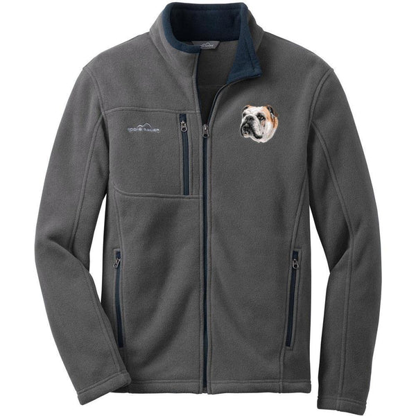 Embroidered Mens Fleece Jackets Gray 2X Large Bulldog D59