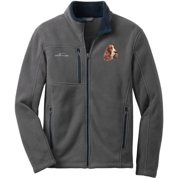 Embroidered Mens Fleece Jackets Gray 2X Large English Springer Spaniel D130