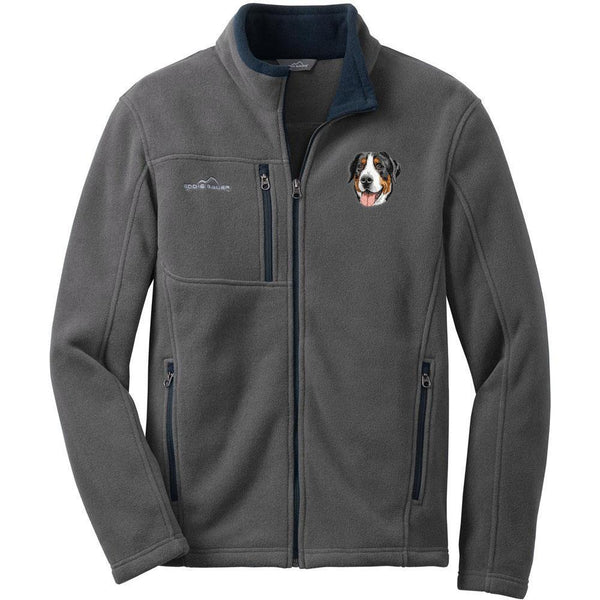 Embroidered Mens Fleece Jackets Gray 2X Large Greater Swiss Mountain Dog DV379