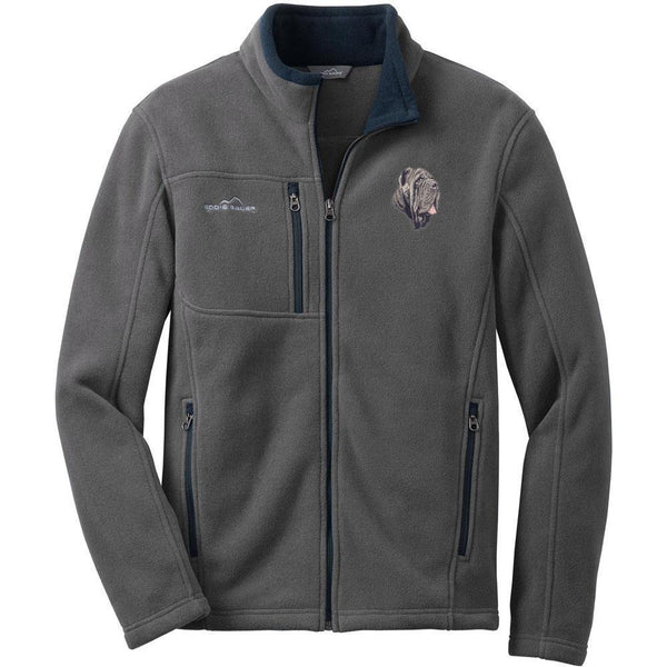 Embroidered Mens Fleece Jackets Gray 2X Large Neapolitan Mastiff DM163