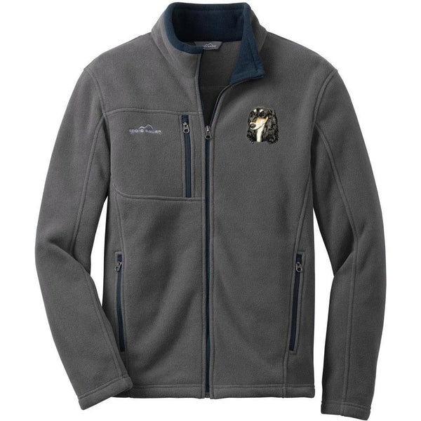 Embroidered Mens Fleece Jackets Gray 2X Large Saluki D76