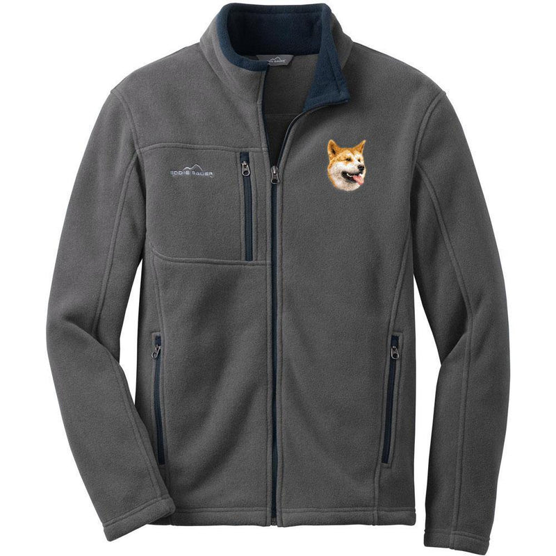 Embroidered Mens Fleece Jackets Gray 2X Large Shiba Inu D91