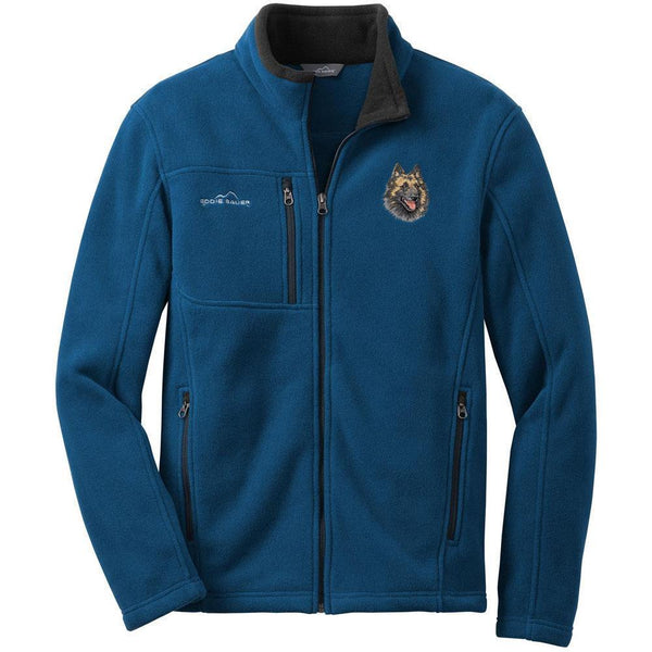 Embroidered Mens Fleece Jackets Deep Sea Blue Small Belgian Tervuren DV220