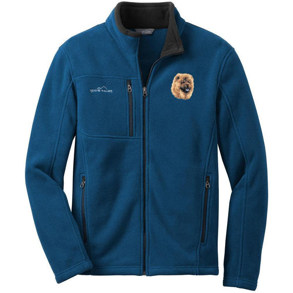 Embroidered Mens Fleece Jackets Deep Sea Blue Small Chow Chow D118