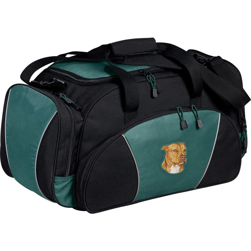 Embroidered Duffel Bags Hunter Green  American Staffordshire Terrier DN334