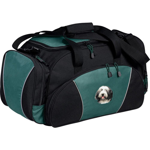Embroidered Duffel Bags Hunter Green  Bearded Collie D37