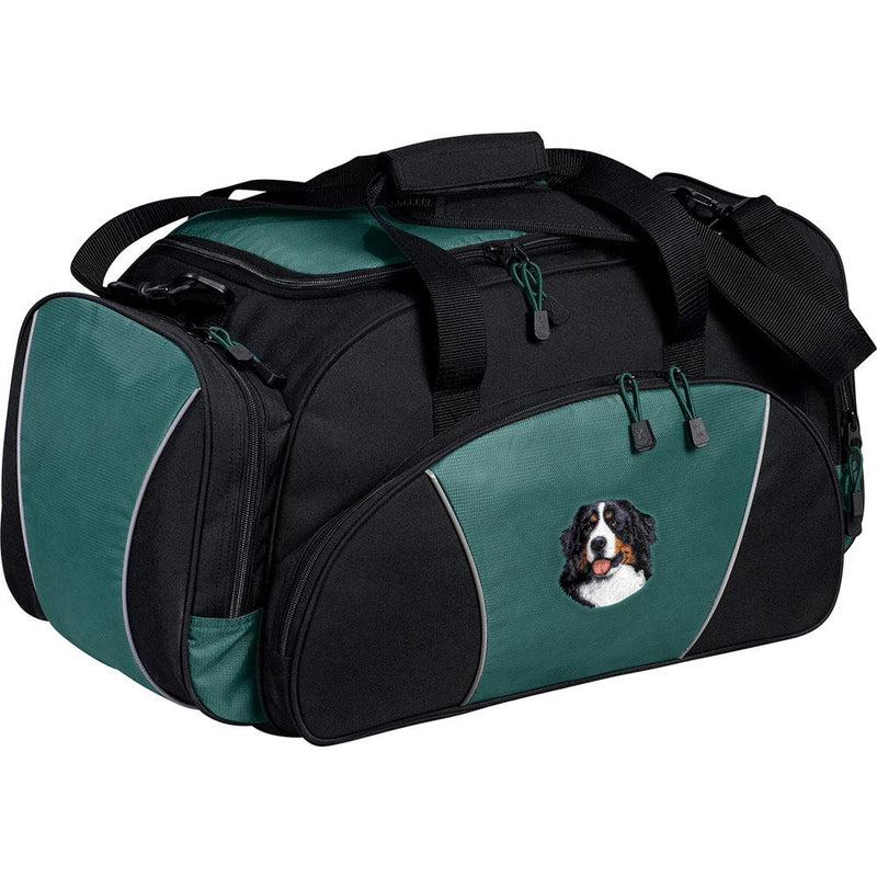 Embroidered Duffel Bags Hunter Green  Bernese Mountain Dog D13