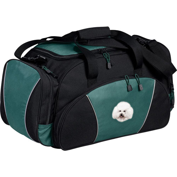 Embroidered Duffel Bags Hunter Green  Bichon Frise D38